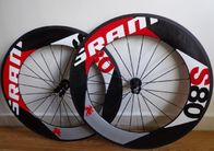 Disc Carbon Track Bike Wheelset , Tubular Clincher Carbon Fiber Road Bike Rims 700c